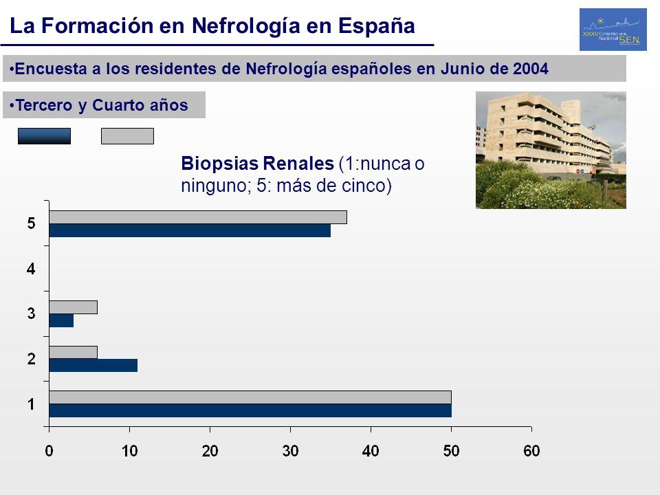 La Formación en Nefrología en España Encuesta a los residentes de Nefrología españoles en Junio de 2004 Tercero y Cuarto años Biopsias Renales (1:nunc