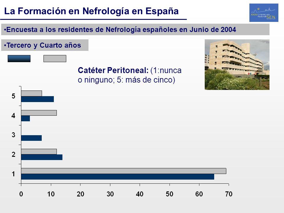 La Formación en Nefrología en España Encuesta a los residentes de Nefrología españoles en Junio de 2004 Tercero y Cuarto años Catéter Peritoneal: (1:n