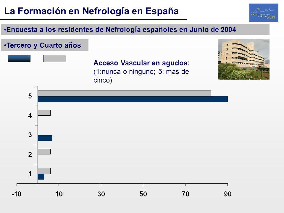 La Formación en Nefrología en España Encuesta a los residentes de Nefrología españoles en Junio de 2004 Tercero y Cuarto años Acceso Vascular en agudo