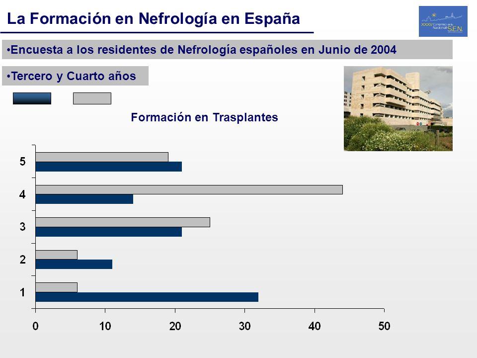 La Formación en Nefrología en España Encuesta a los residentes de Nefrología españoles en Junio de 2004 Tercero y Cuarto años Formación en Trasplantes