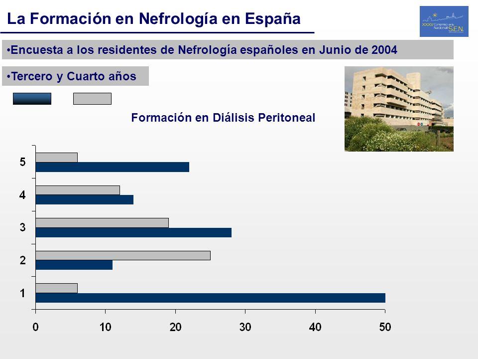 La Formación en Nefrología en España Encuesta a los residentes de Nefrología españoles en Junio de 2004 Tercero y Cuarto años Formación en Diálisis Pe