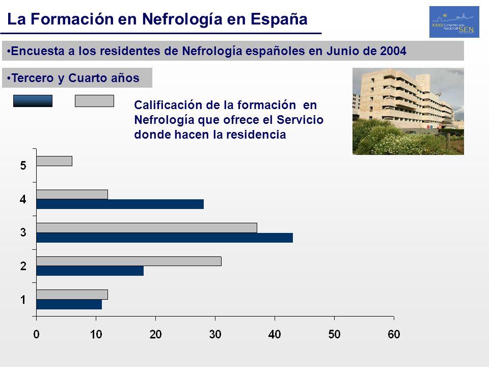 La Formación en Nefrología en España Encuesta a los residentes de Nefrología españoles en Junio de 2004 Tercero y Cuarto años Calificación de la forma