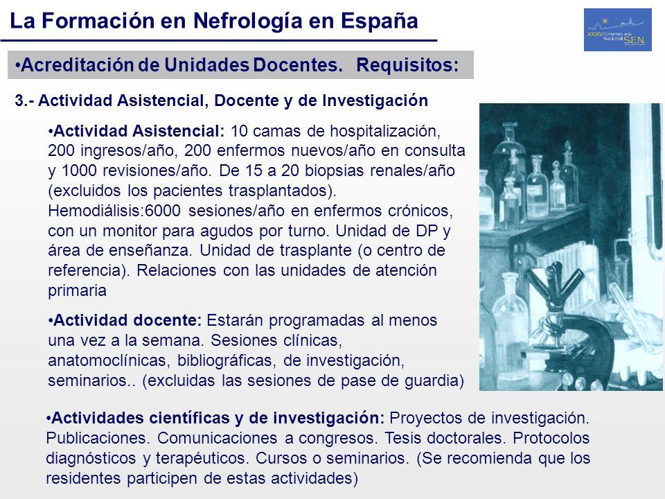 La Formación en Nefrología en España Acreditación de Unidades Docentes. Requisitos: 3.- Actividad Asistencial, Docente y de Investigación Actividad As