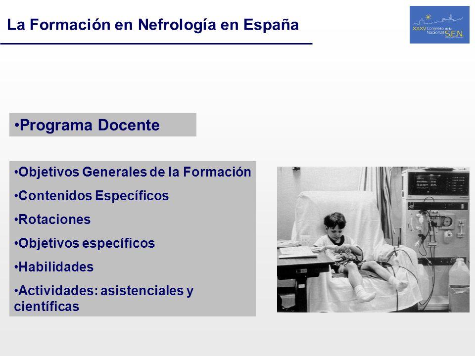 La Formación en Nefrología en España Programa Docente Objetivos Generales de la Formación Contenidos Específicos Rotaciones Objetivos específicos Habi