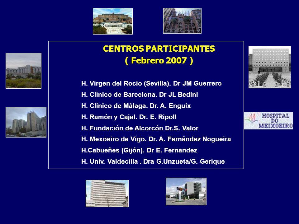 CENTROS PARTICIPANTES ( Febrero 2007 ) H. Virgen del Rocio (Sevilla). Dr JM Guerrero H. Clínico de Barcelona. Dr JL Bedini H. Clínico de Málaga. Dr. A