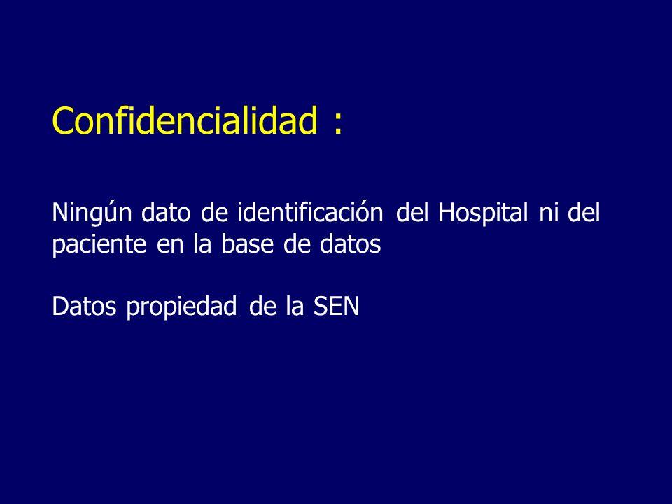 Confidencialidad : Ningún dato de identificación del Hospital ni del paciente en la base de datos Datos propiedad de la SEN