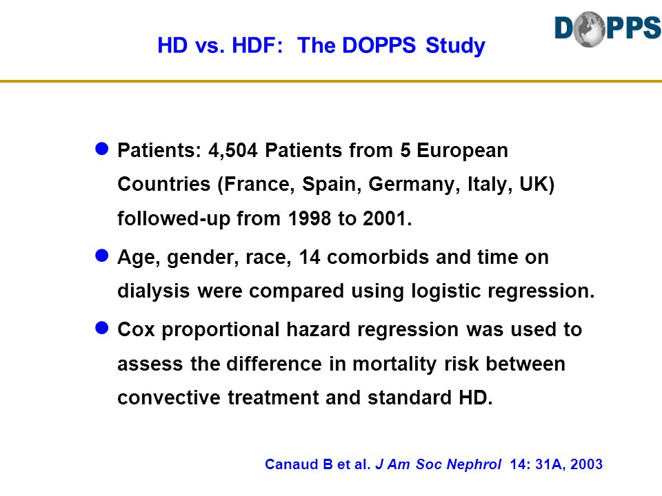 HD vs. HDF: The DOPPS Study Patients: 4,504 Patients from 5 European Countries (France, Spain, Germany, Italy, UK) followed-up from 1998 to 2001. Age,