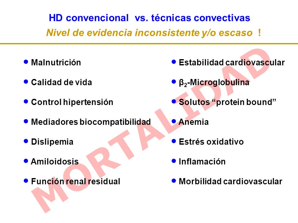 MORTALIDAD HD convencional vs.