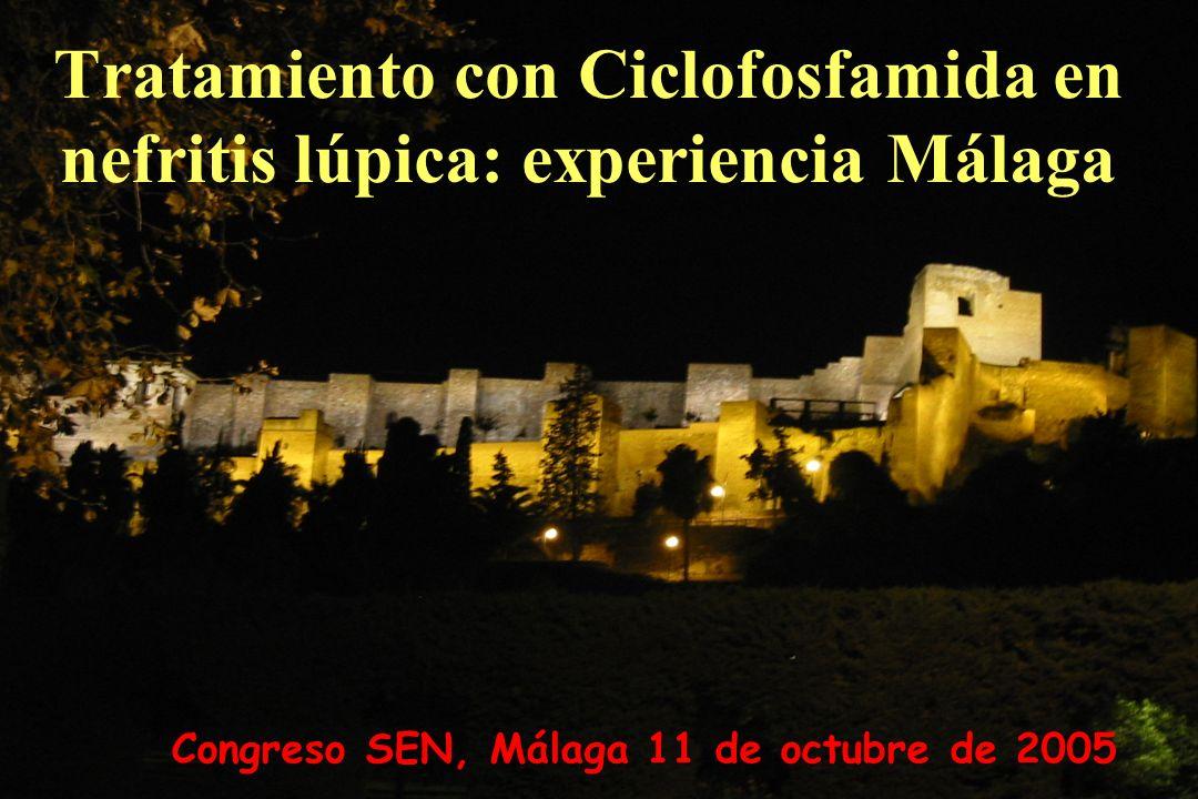 Congreso SEN, Málaga 11 de octubre de 2005 Tratamiento con Ciclofosfamida en nefritis lúpica: experiencia Málaga
