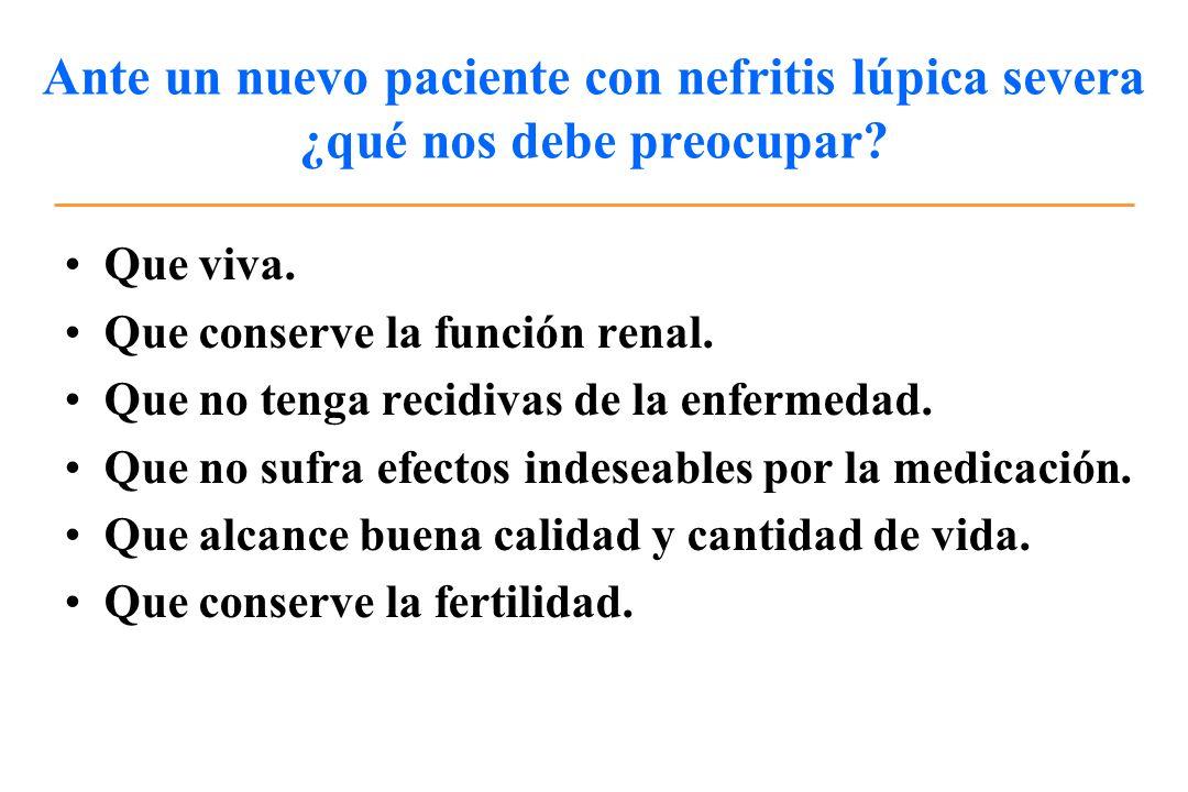 Ante un nuevo paciente con nefritis lúpica severa ¿qué nos debe preocupar? Que viva. Que conserve la función renal. Que no tenga recidivas de la enfer