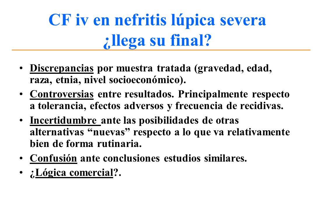 CF iv en nefritis lúpica severa ¿llega su final? Discrepancias por muestra tratada (gravedad, edad, raza, etnia, nivel socioeconómico). Controversias