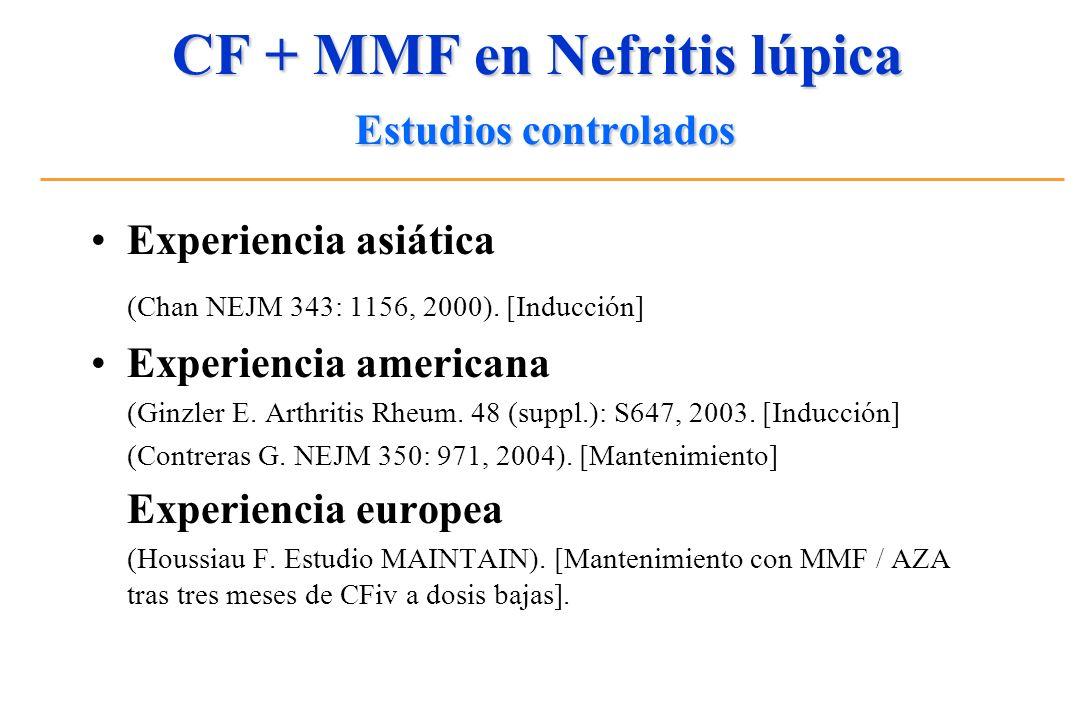 CF + MMF en Nefritis lúpica Estudios controlados Experiencia asiática (Chan NEJM 343: 1156, 2000). [Inducción] Experiencia americana (Ginzler E. Arthr