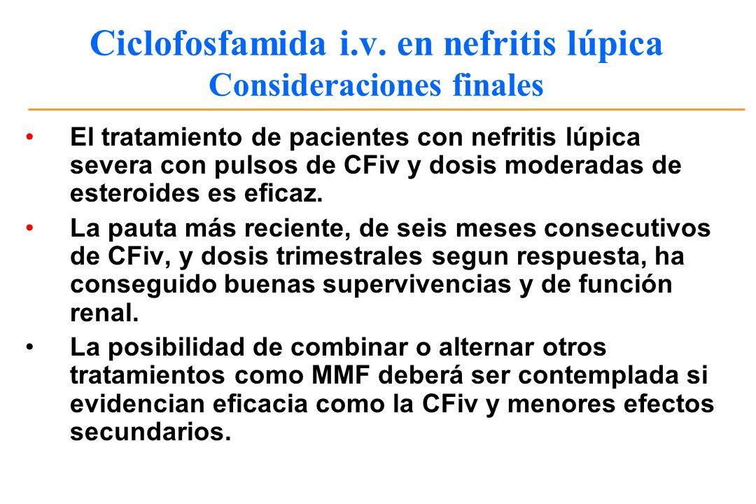 Ciclofosfamida i.v. en nefritis lúpica Consideraciones finales El tratamiento de pacientes con nefritis lúpica severa con pulsos de CFiv y dosis moder