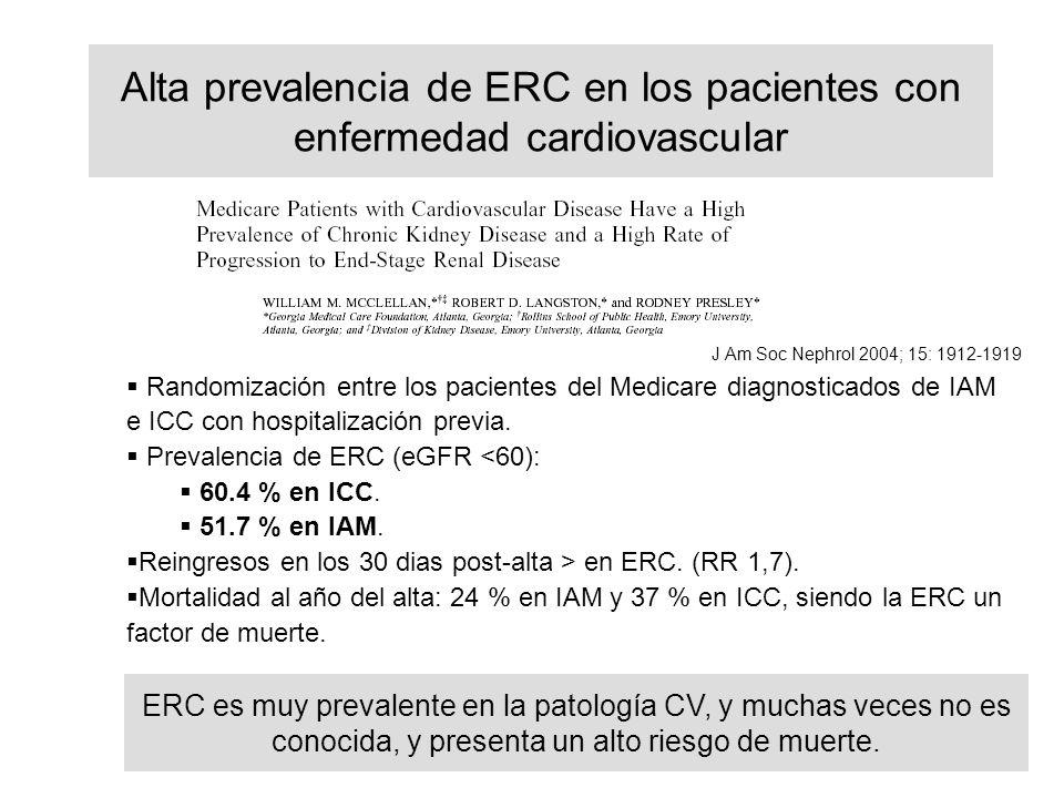 Alta prevalencia de ERC en los pacientes con enfermedad cardiovascular J Am Soc Nephrol 2004; 15: 1912-1919 Randomización entre los pacientes del Medicare diagnosticados de IAM e ICC con hospitalización previa.