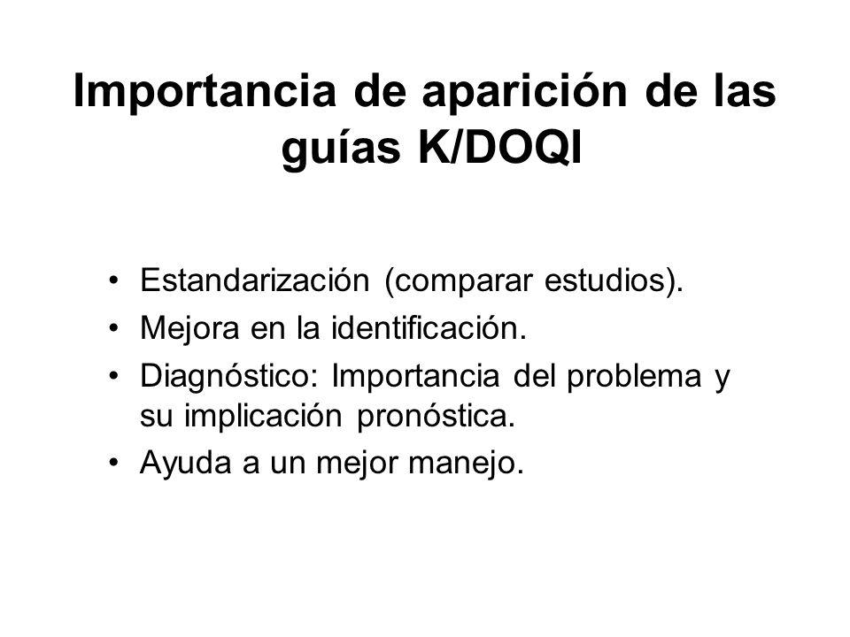 Importancia de aparición de las guías K/DOQI Estandarización (comparar estudios). Mejora en la identificación. Diagnóstico: Importancia del problema y