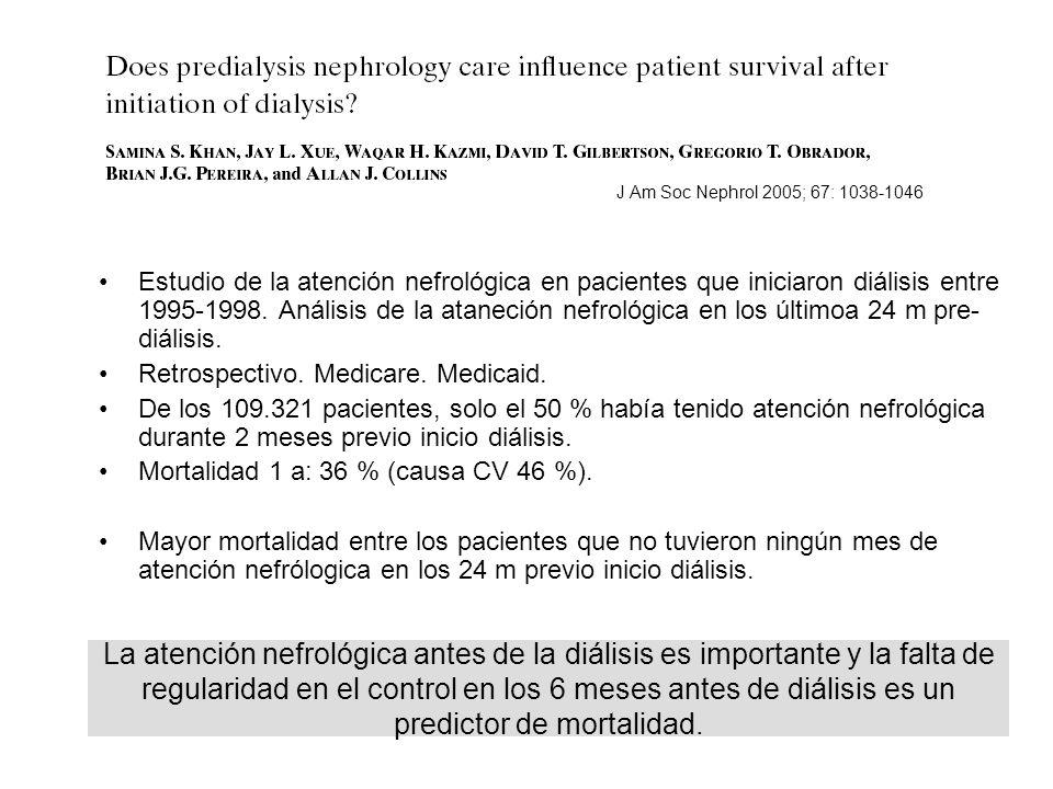 Estudio de la atención nefrológica en pacientes que iniciaron diálisis entre 1995-1998. Análisis de la ataneción nefrológica en los últimoa 24 m pre-