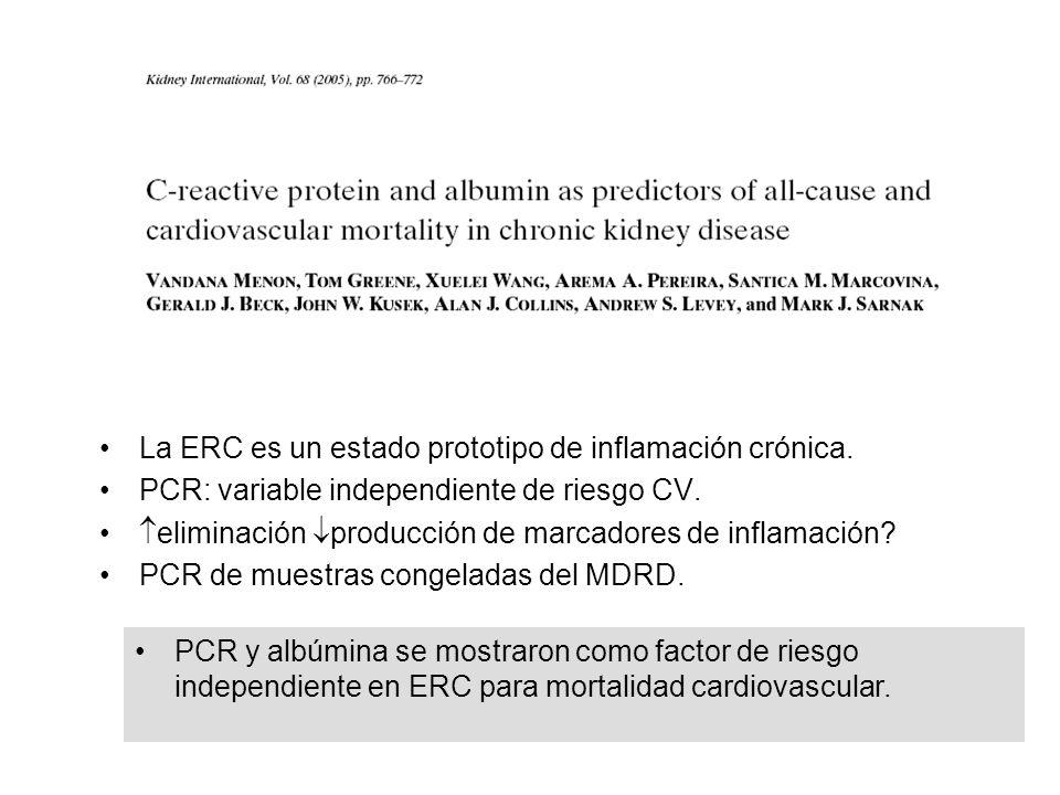 La ERC es un estado prototipo de inflamación crónica. PCR: variable independiente de riesgo CV. eliminación producción de marcadores de inflamación? P