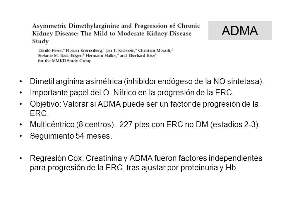 ADMA Dimetil arginina asimétrica (inhibidor endógeso de la NO sintetasa). Importante papel del O. Nítrico en la progresión de la ERC. Objetivo: Valora