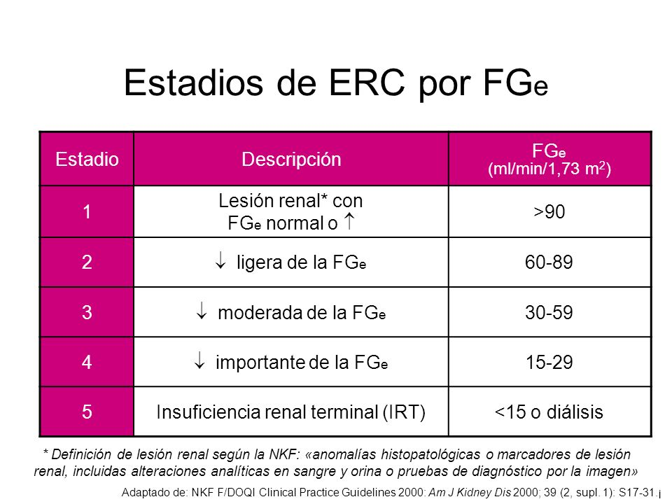 Estadios de ERC por FG e Adaptado de: NKF F/DOQI Clinical Practice Guidelines 2000: Am J Kidney Dis 2000; 39 (2, supl. 1): S17-31.¡ EstadioDescripción
