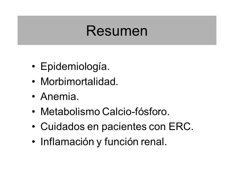 Resumen Epidemiología. Morbimortalidad. Anemia. Metabolismo Calcio-fósforo. Cuidados en pacientes con ERC. Inflamación y función renal.
