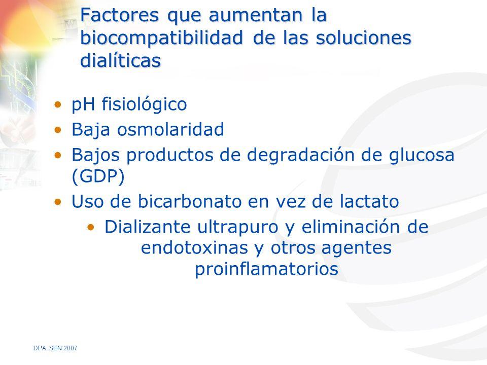 DPA, SEN 2007 Factores que aumentan la biocompatibilidad de las soluciones dialíticas pH fisiológico Baja osmolaridad Bajos productos de degradación de glucosa (GDP) Uso de bicarbonato en vez de lactato Dializante ultrapuro y eliminación de endotoxinas y otros agentes proinflamatorios