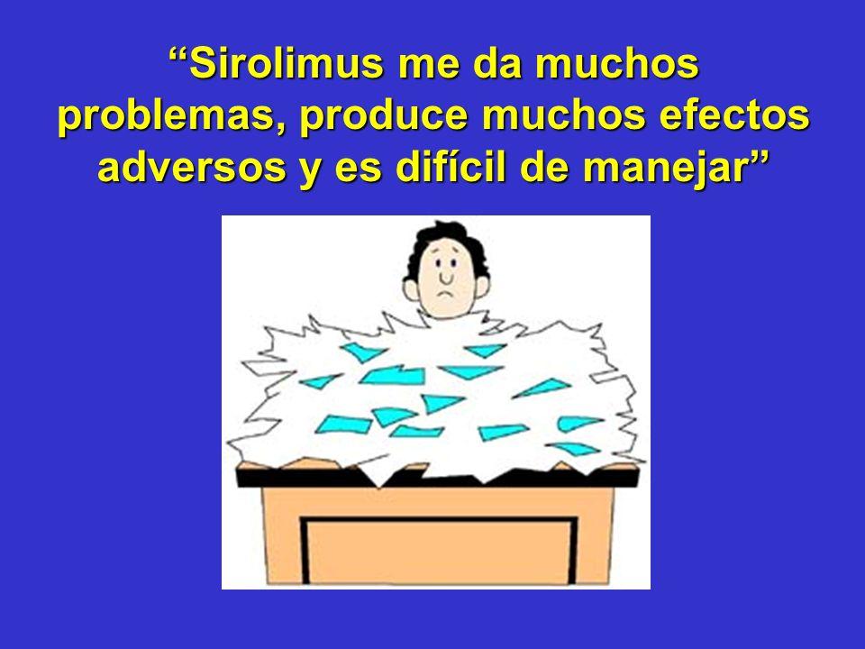 Sirolimus me da muchos problemas, produce muchos efectos adversos y es difícil de manejar