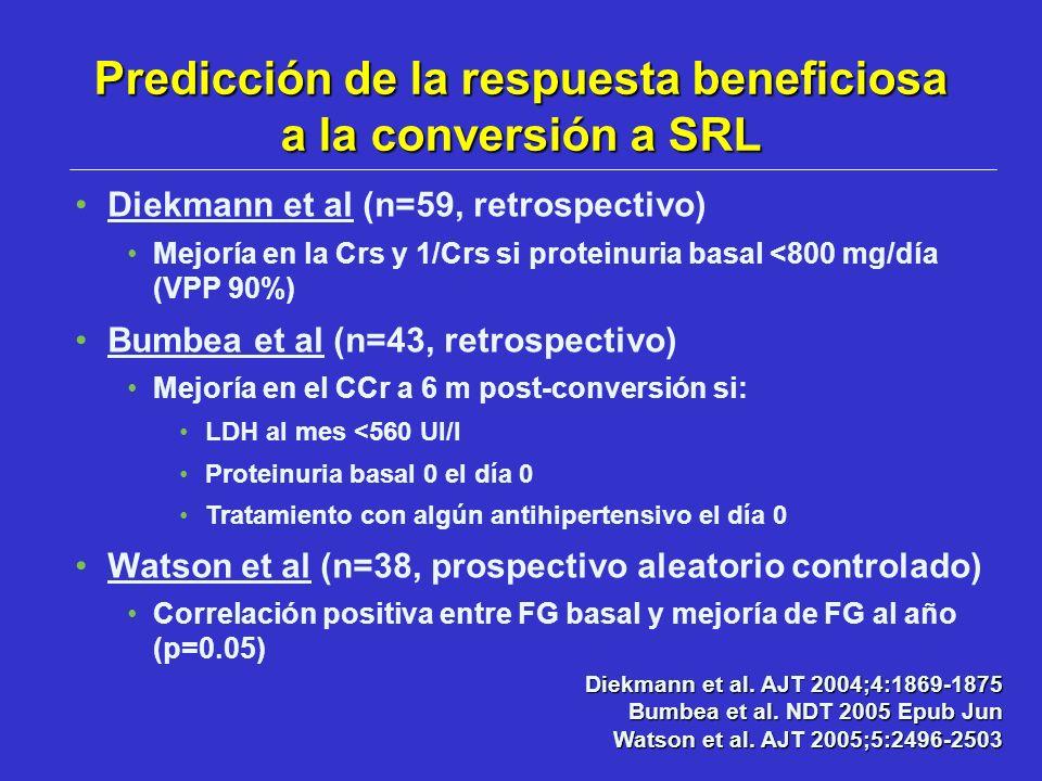 Diekmann et al (n=59, retrospectivo) Mejoría en la Crs y 1/Crs si proteinuria basal <800 mg/día (VPP 90%) Bumbea et al (n=43, retrospectivo) Mejoría e