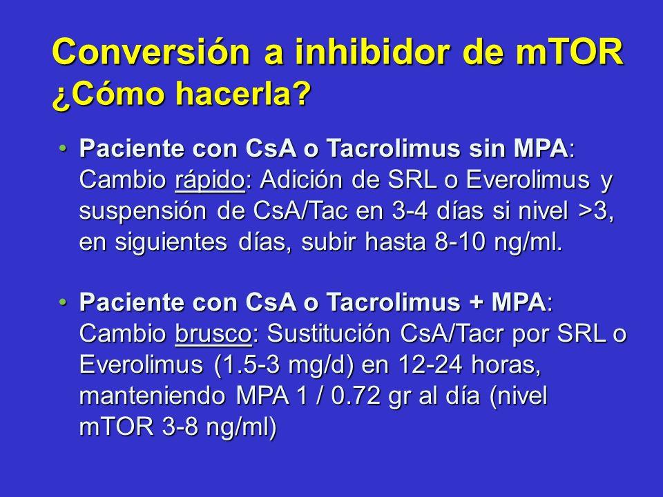 Paciente con CsA o Tacrolimus sin MPA: Cambio rápido: Adición de SRL o Everolimus y suspensión de CsA/Tac en 3-4 días si nivel >3, en siguientes días,