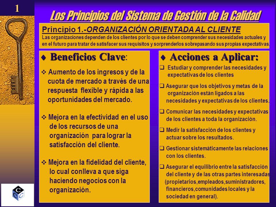 Los Principios del Sistema de Gestión de la Calidad Beneficios Clave Beneficios Clave: Acciones a Aplicar: Acciones a Aplicar: Principio 1.-ORGANIZACI