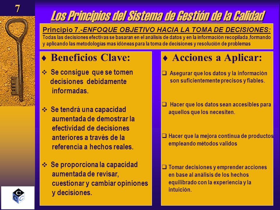 Los Principios del Sistema de Gestión de la Calidad Beneficios Clave: Acciones a Aplicar: Principio 7.-ENFOQUE OBJETIVO HACIA LA TOMA DE DECISIONES: T