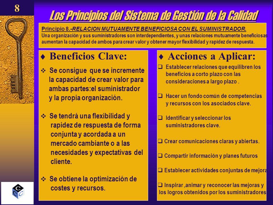 Los Principios del Sistema de Gestión de la Calidad Beneficios Clave: Acciones a Aplicar: Principio 8.-RELACION MUTUAMENTE BENEFICIOSA CON EL SUMINIST