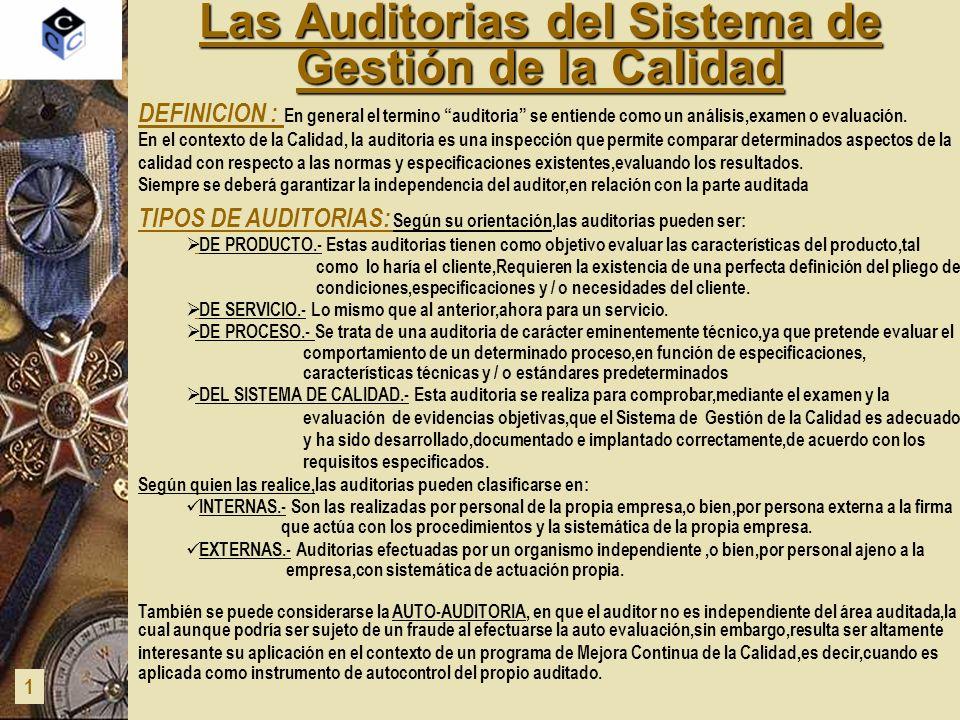 Las Auditorias del Sistema de Gestión de la Calidad 2 LA AUDITORIA INTERNA DEL S.G.C.: Es una actividad efectuada por una persona o grupo de personas de la propia empresa y aplicada a todas o cualquiera de las diferentes áreas de actividad existentes en la organización,que se realiza para comprobar,mediante el examen y la evaluación de evidencias objetivas,que el Sistema de Gestión de la Calidad(SGC)es adecuado para alcanzar los objetivos establecidos,y ha sido de forma correcta desarrollado,documentado e implantado,de acuerdo con los requisitos especificados.