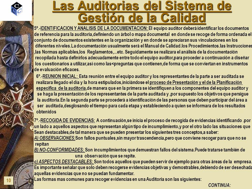Las Auditorias del Sistema de Gestión de la Calidad 10 5º.-IDENTIFICACION Y ANALISIS DE LA DOCUMENTACION: El equipo auditor deberá identificar los doc