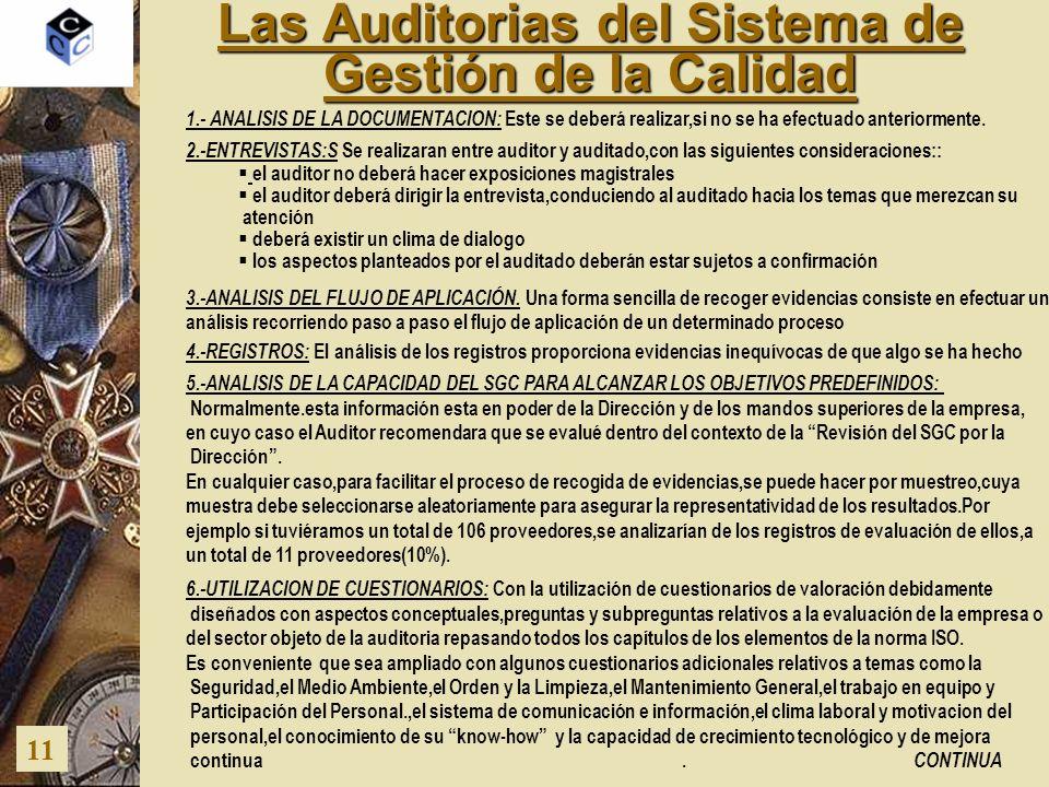 Las Auditorias del Sistema de Gestión de la Calidad 11 1.- ANALISIS DE LA DOCUMENTACION: Este se deberá realizar,si no se ha efectuado anteriormente.