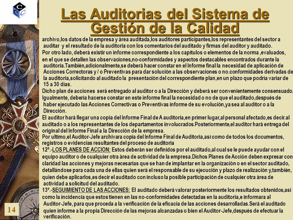 Las Auditorias del Sistema de Gestión de la Calidad 14 archivo,los datos de la empresa y área auditada,los auditores participantes,los representantes