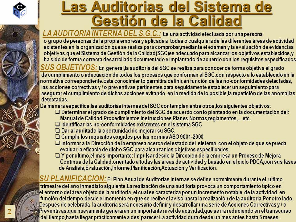 Las Auditorias del Sistema de Gestión de la Calidad 2 LA AUDITORIA INTERNA DEL S.G.C.: Es una actividad efectuada por una persona o grupo de personas