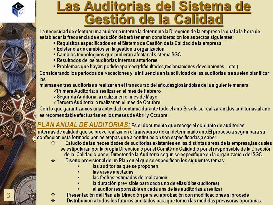 Las Auditorias del Sistema de Gestión de la Calidad 3 PLAN ANUAL DE AUDITORIAS: Es el documento que recoge el conjunto de auditorias internas de calid