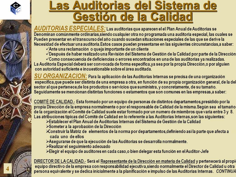 Las Auditorias del Sistema de Gestión de la Calidad 4 SU ORGANIZACION: Para la aplicación de las Auditorias Internas se precisa de una organización es