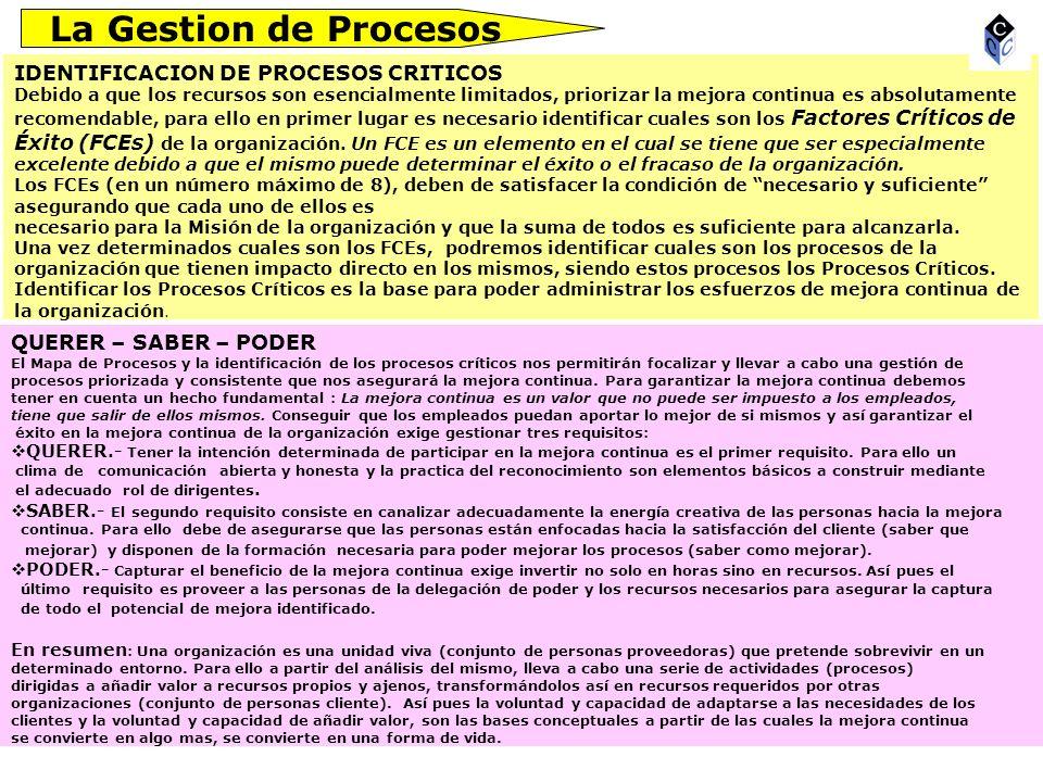 La Gestion de Procesos IDENTIFICACION DE PROCESOS CRITICOS Debido a que los recursos son esencialmente limitados, priorizar la mejora continua es abso