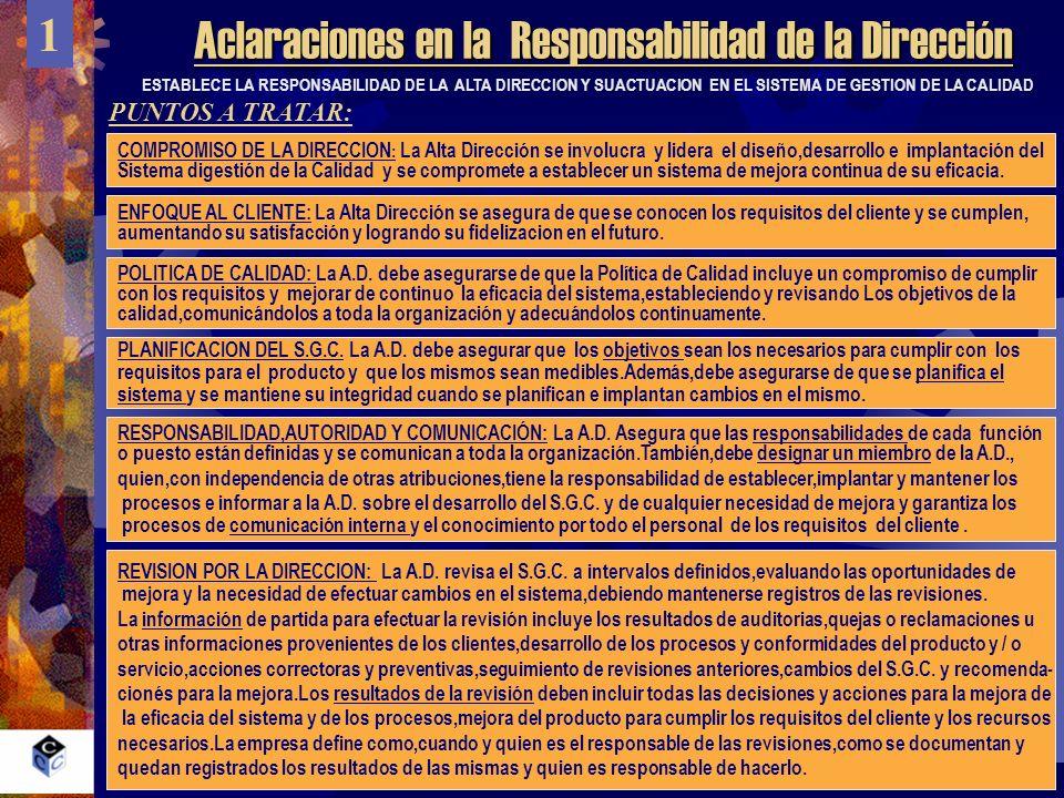 Aclaraciones en la Responsabilidad de la Dirección 1 PUNTOS A TRATAR: ESTABLECE LA RESPONSABILIDAD DE LA ALTA DIRECCION Y SUACTUACION EN EL SISTEMA DE