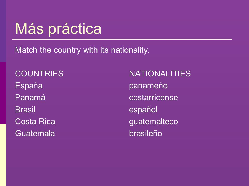 Más práctica Match the country with its nationality. COUNTRIES España Panamá Brasil Costa Rica Guatemala NATIONALITIES panameño costarricense español