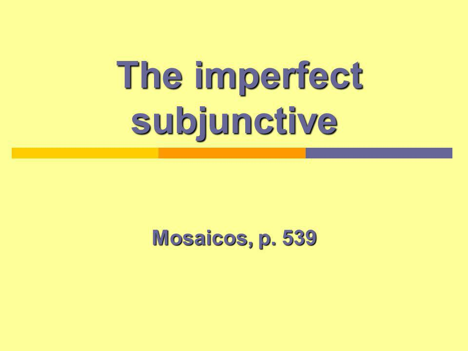 Introduction Preterit (3rd person plural) form hablaron Drop the ending (-on) Infinitive (To talk) Hablar The past subjunctive is also called imperfect subjunctive.