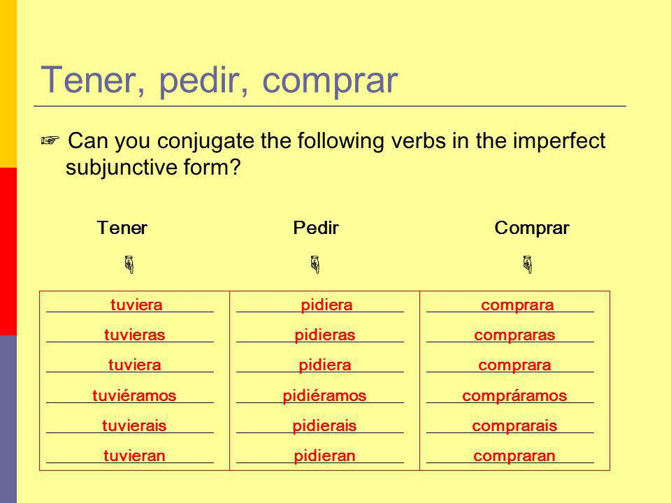 ____________________ Tener, pedir, comprar Can you conjugate the following verbs in the imperfect subjunctive form.