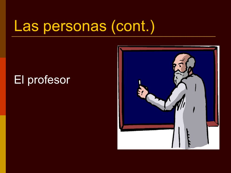 Las personas (cont.) La profesora