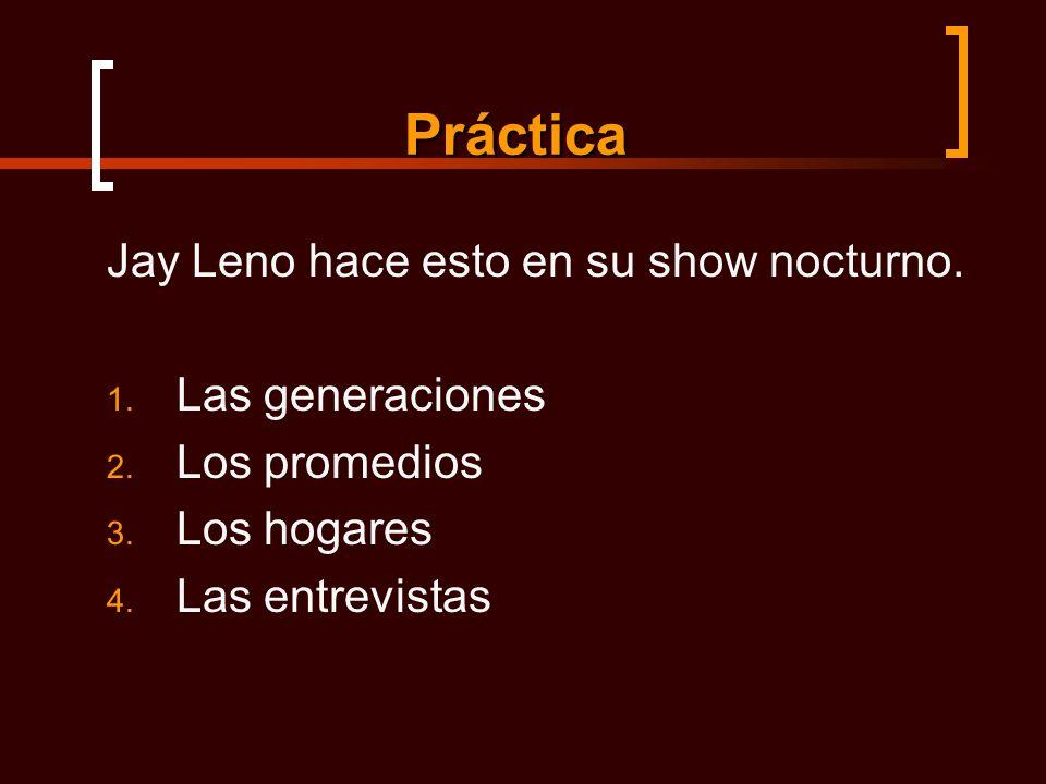 Práctica Jay Leno hace esto en su show nocturno. 1.