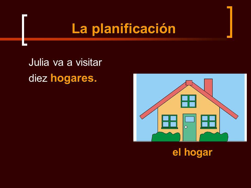 La planificación Julia va a visitar hogares. diez hogares. el hogar