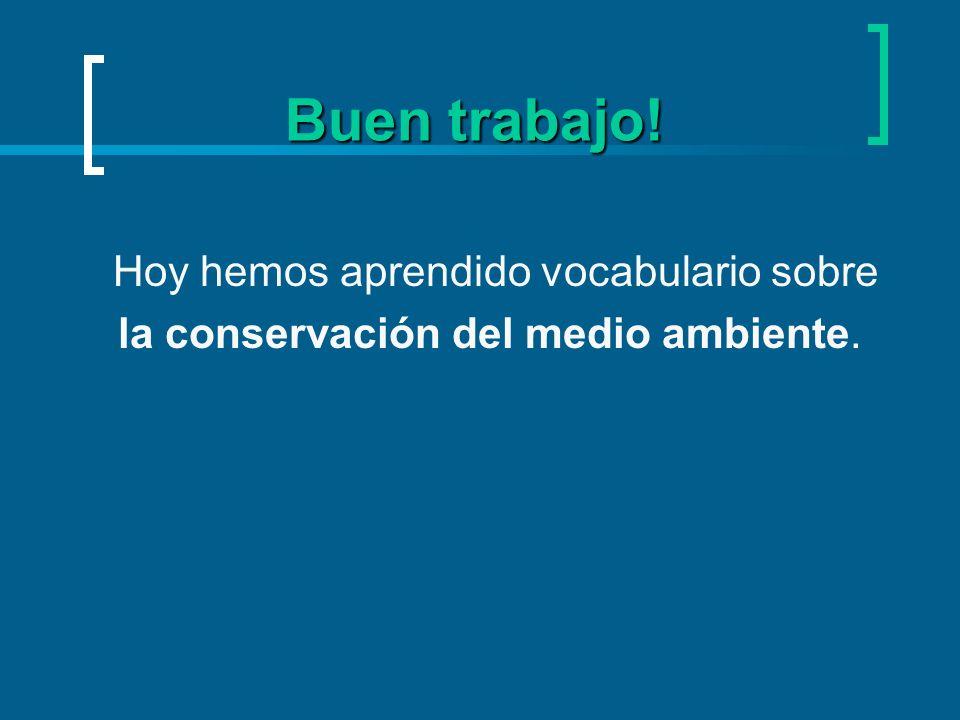 Buen trabajo! Hoy hemos aprendido vocabulario sobre la conservación del medio ambiente.