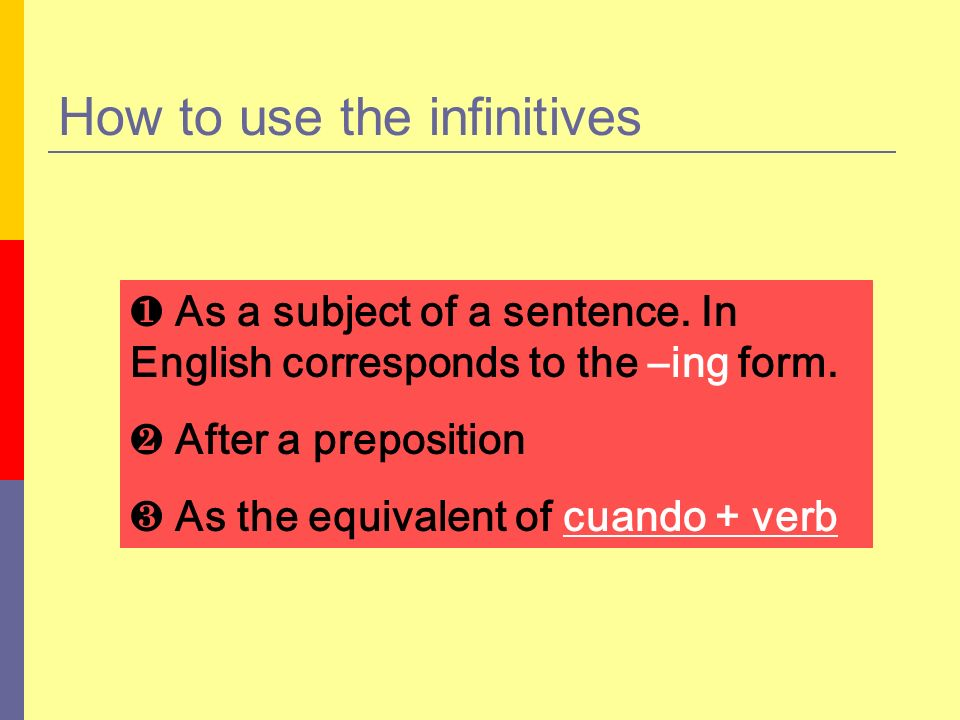 How to use the infinitive (cont.) As a subject of a sentence.