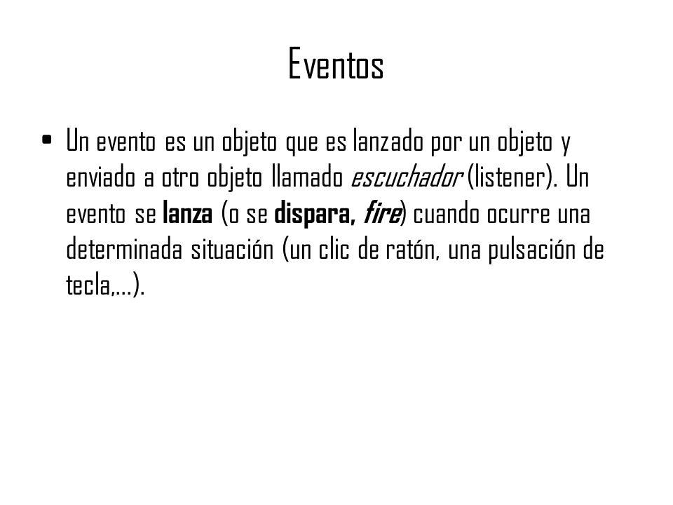Eventos Un evento es un objeto que es lanzado por un objeto y enviado a otro objeto llamado escuchador (listener). Un evento se lanza (o se dispara, f