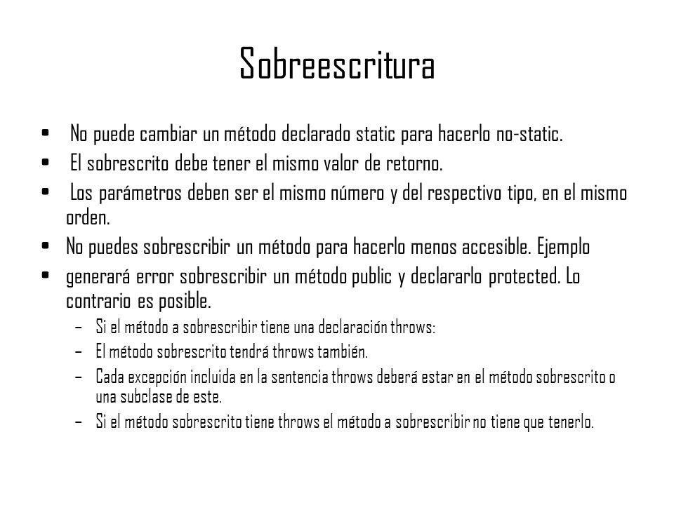 Sobreescritura No puede cambiar un método declarado static para hacerlo no-static. El sobrescrito debe tener el mismo valor de retorno. Los parámetros